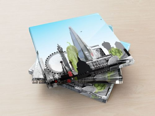London Skyline With A Twist Blue - Glass Coasters